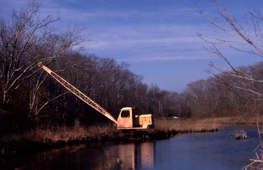 Stock Photo: 1729-199 Abandoned crane in a forest