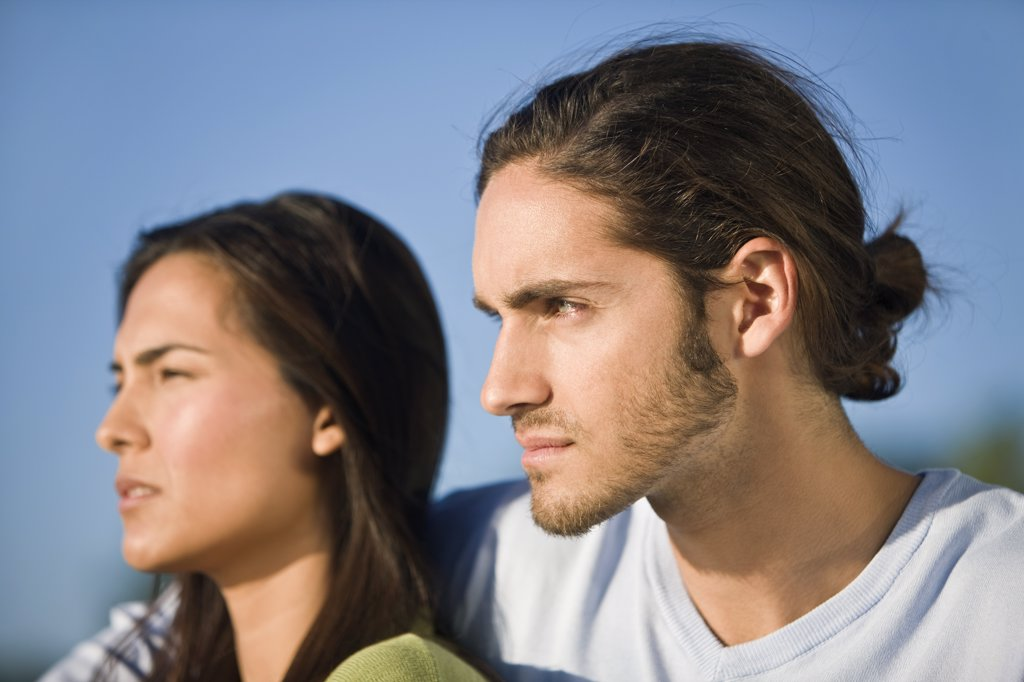 Close-up of a couple looking away : Stock Photo