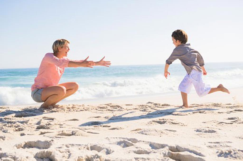 Stock Photo: 1738R-15891 Family enjoying vacations on the beach