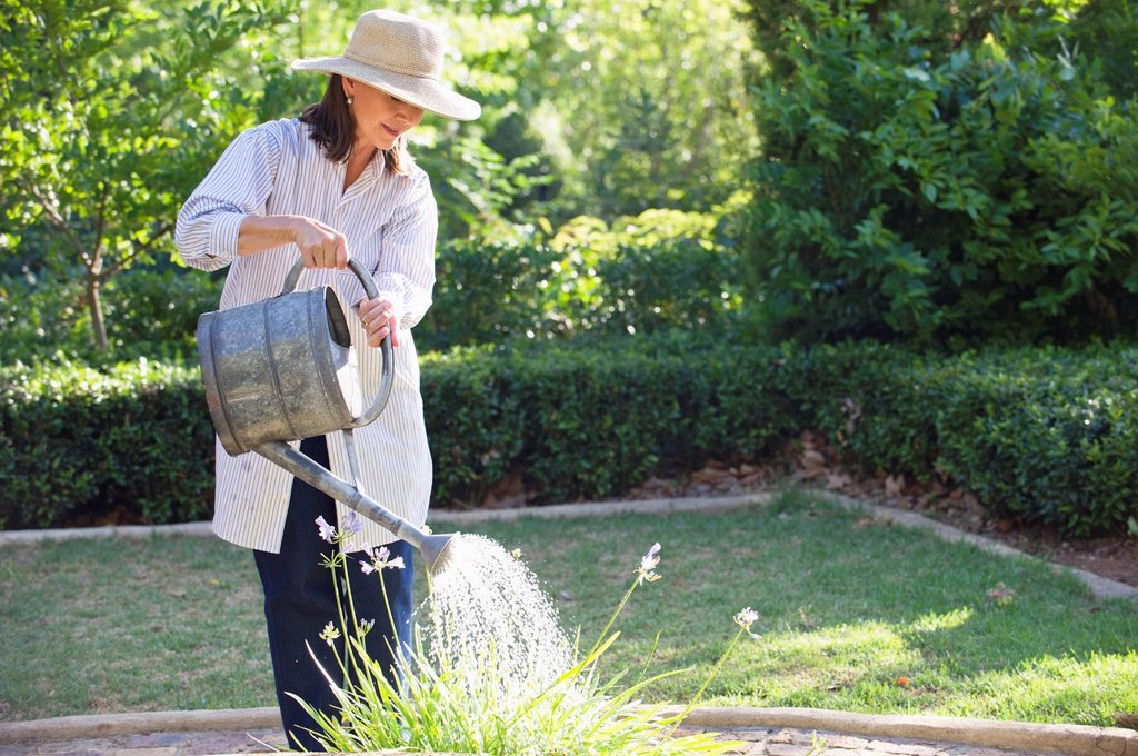 Senior woman in straw hat watering plants in a garden : Stock Photo
