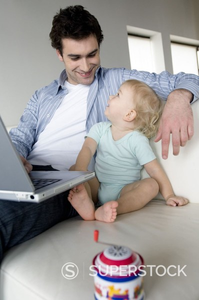 Stock Photo: 1738R-2208 Man with little boy