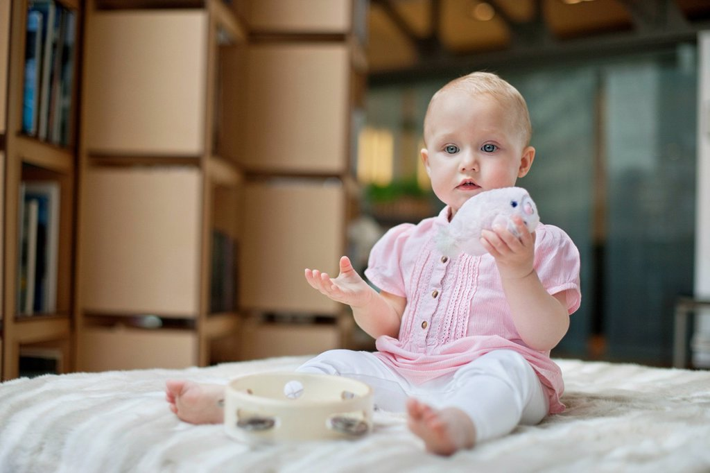 Stock Photo: 1738R-24452 Baby girl playing with a toy