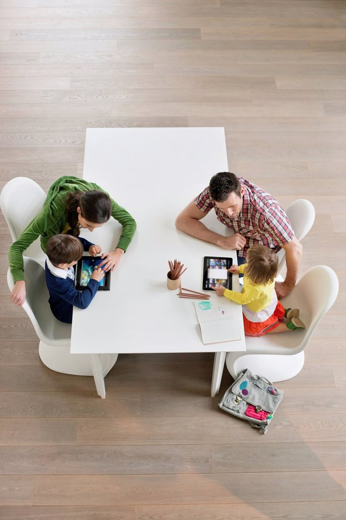 Stock Photo: 1738R-26796 High angle view of couple teaching their children