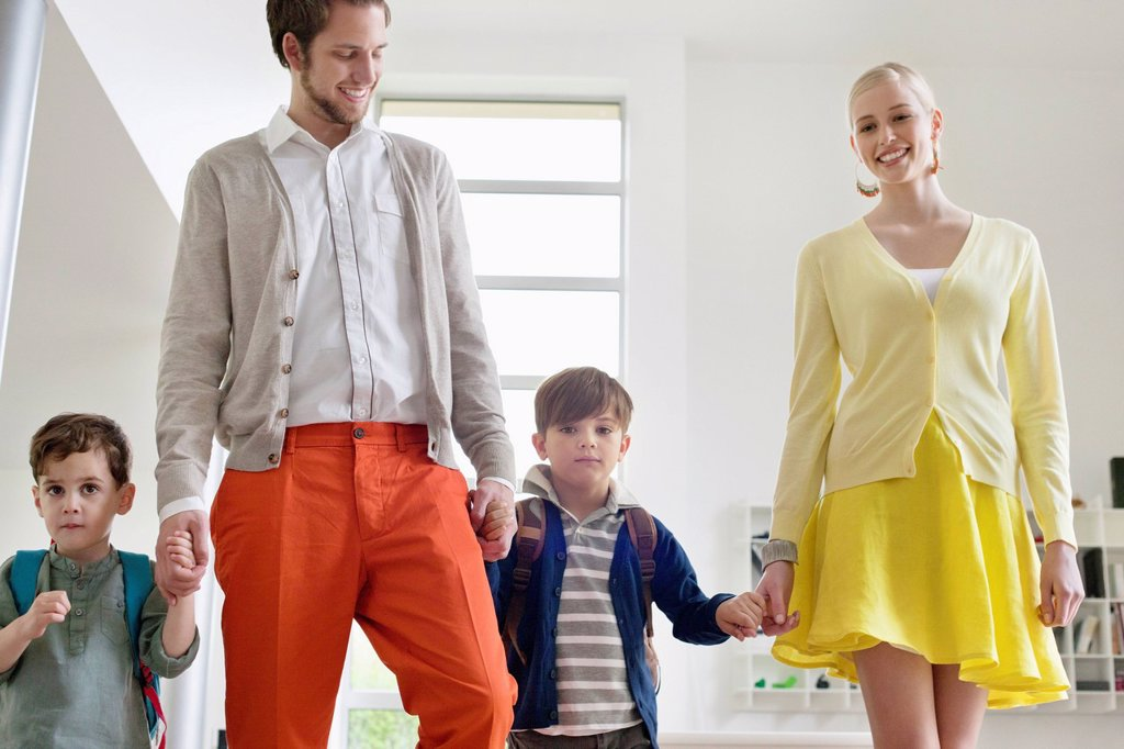 Stock Photo: 1738R-26950 Couple walking with their children