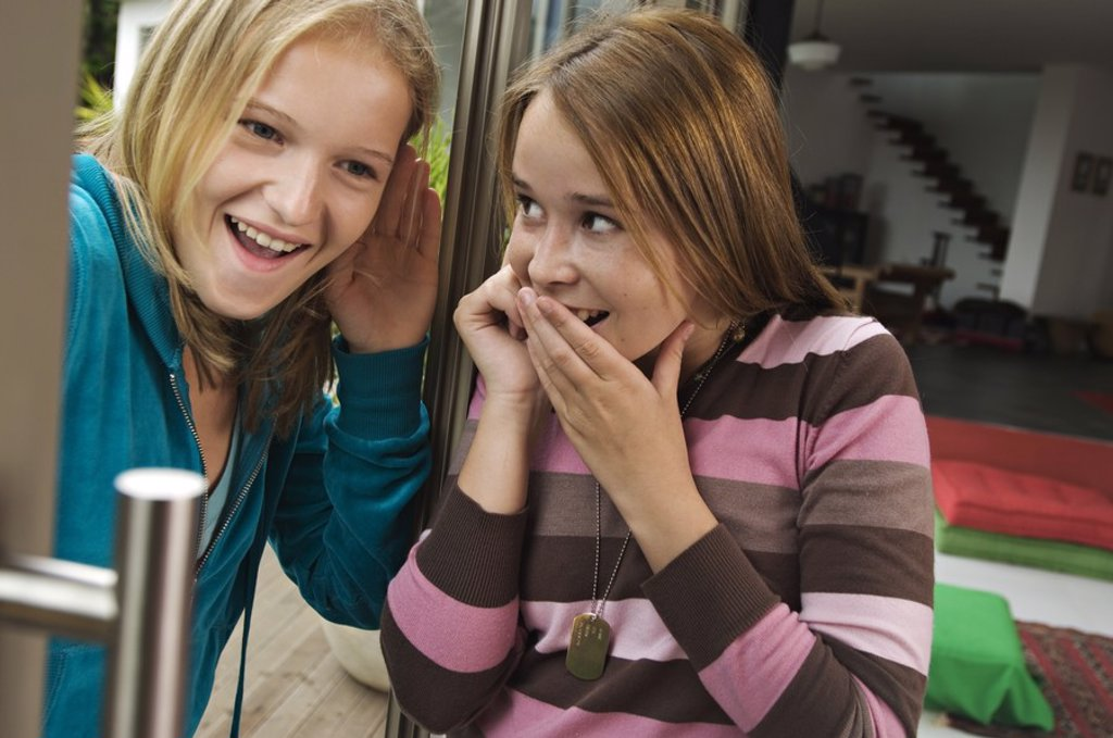 2 smiling teenage girls using mobile phone : Stock Photo
