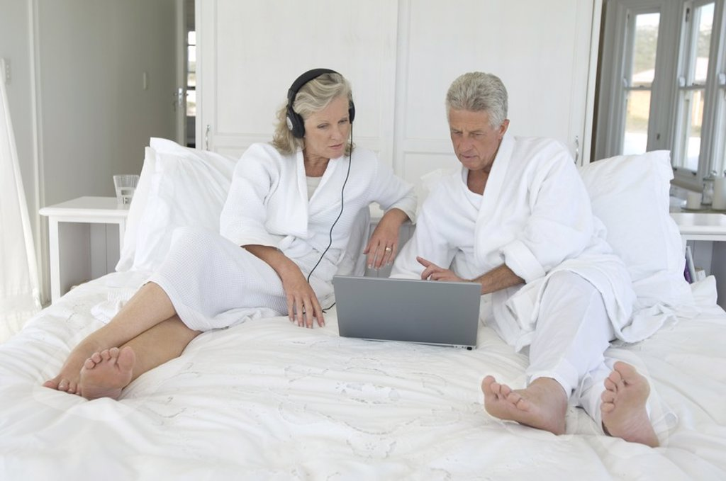 Stock Photo: 1738R-4117 Couple using laptop in bed