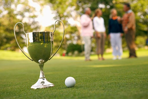 Close-up of a trophy and a golf ball : Stock Photo