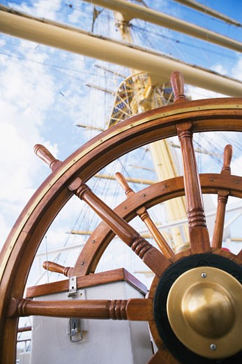 Close-up of the helm of a sailing ship : Stock Photo