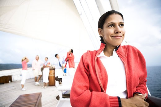 Close-up of a young woman smiling : Stock Photo