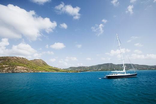 Sailboat in the sea : Stock Photo