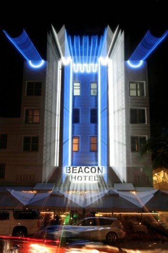 Stock Photo: 1742-10890 Front view of the Beacon Hotel at night