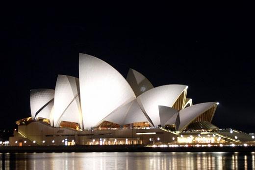 Sydney Opera House illuminated at night, Sydney, Australia. : Stock Photo