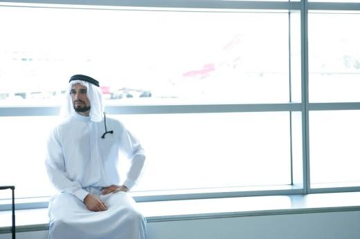 Stock Photo: 1742-8410 View of an Arab man at airport.