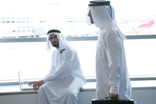View of two Arab men at airport. : Stock Photo