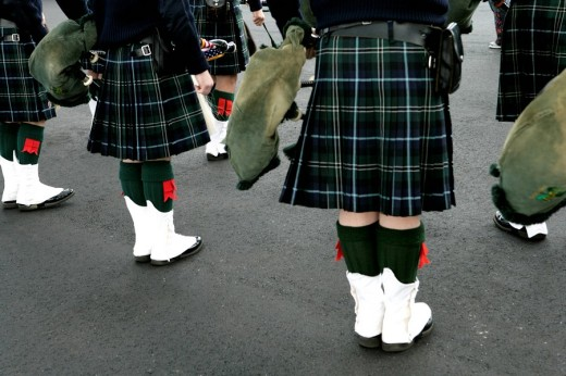 View of a group of people in kilts. : Stock Photo