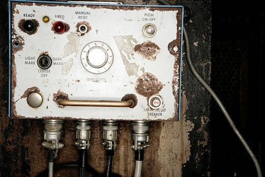 View of an electrical device in a factory. : Stock Photo