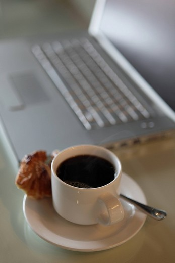 Stock Photo: 1742R-19139 Close_up of tea cup by laptop on table