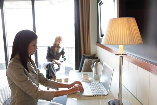 Side view of a businesswoman using a laptop : Stock Photo