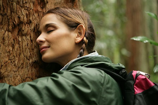 Stock Photo: 1742R-2070 Female hugging a tree