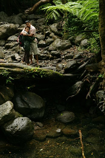 Stock Photo: 1742R-2080 Couple hugging inside forest