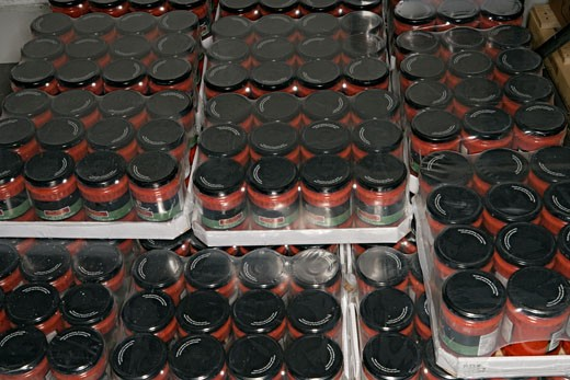 Stock Photo: 1742R-2851 View of containers arranged on shelves.