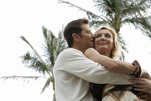 Stock Photo: 1742R-2889 View of a couple embracing.