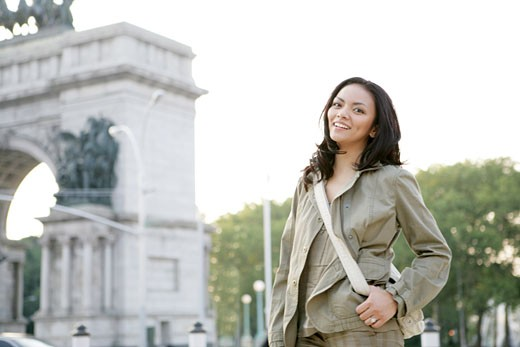 Woman standing outside : Stock Photo
