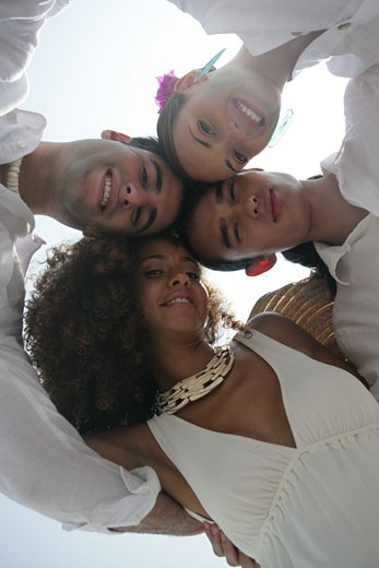 Stock Photo: 1742R-6001 View from below of happy young couples.