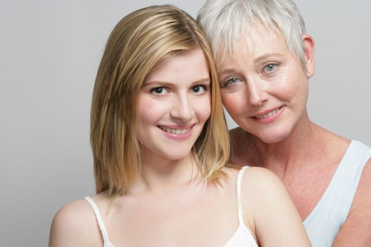 Stock Photo: 1742R-7053 Portrait of mother and adult daughter.