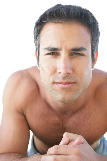 Portrait of young bare-chested man.  : Stock Photo