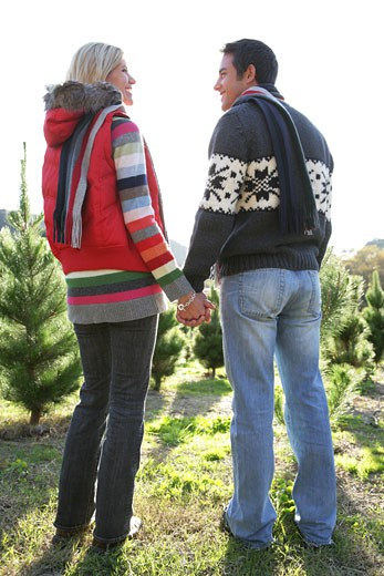 Young couple holding hands at Christmas tree lot. : Stock Photo