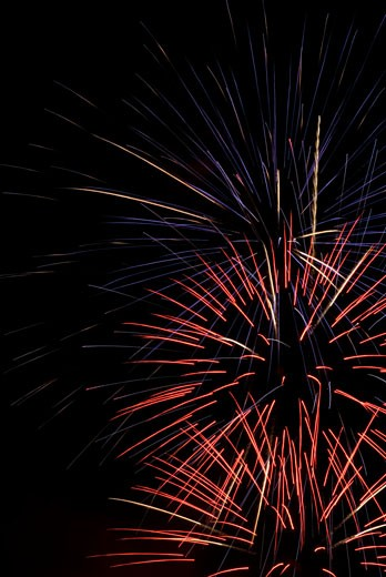 Stock Photo: 1744R-127 Low angle view of fireworks display at night