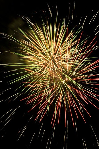 Stock Photo: 1744R-130 Low angle view of fireworks display at night