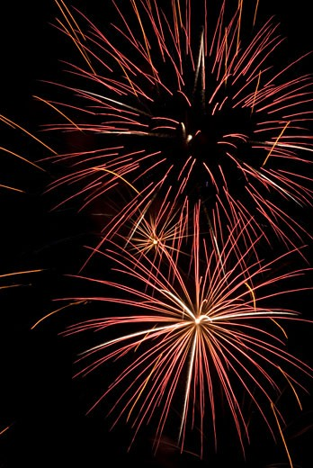 Stock Photo: 1744R-132 Low angle view of fireworks display at night