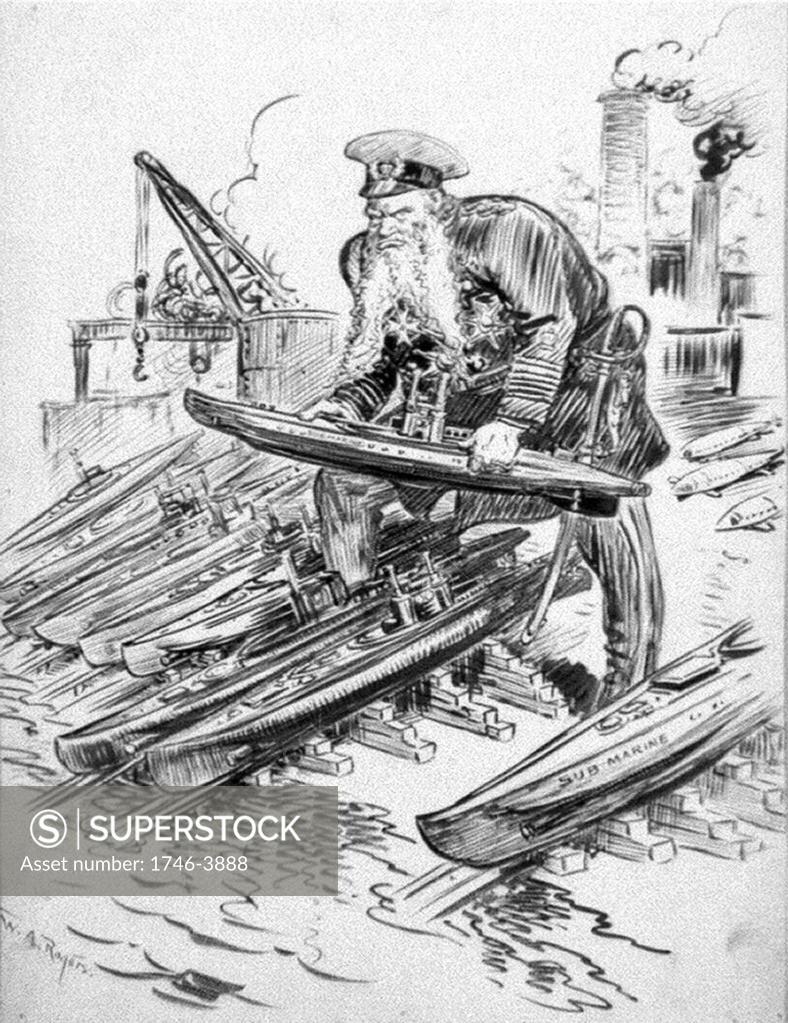 Stock Photo: 1746-3888 German Grand Admiral Alfred von Tirpitz (1849-1930) with his answer to British naval strength. He promoted unrestricted submarine warfare. William Allen Rogers (1854-1931) American artist. World War I 1914-1918. Naval