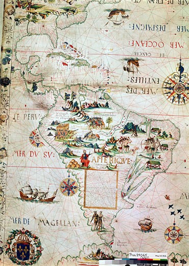 Stock Photo: 1746-1012 French map of Central and South America, showing Florida, Gulf of Mexico, Caribbean Islands and Antilles, River Plate, Conquistadors in Peru, Cannibals, Gold Mines, Parrots, etc. 1550. British Museum