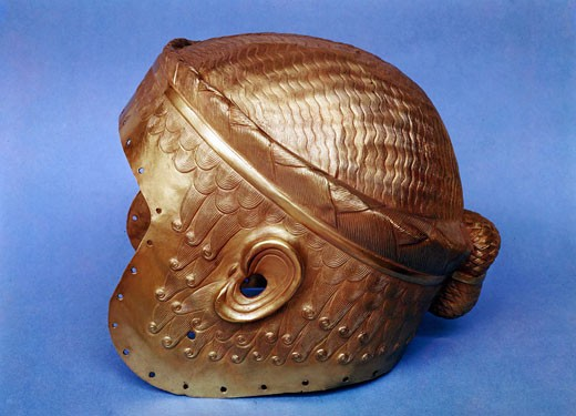 Stock Photo: 1746-1017 Gold helmet from Mesopotamia. 2, 500 BC. Iraq Museum