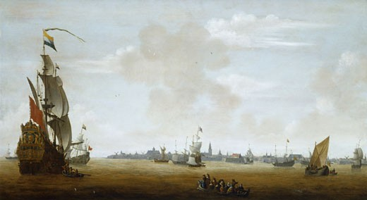 View of Amsterdam from the sea, Peter van den Velde, (1634-1687/Flemish), Oil on wood, Private collection : Stock Photo