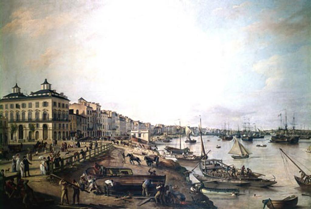 Stock Photo: 1746-1043 Vue d'une partie du port et des quais de Bordeaux: dit Les Chartrons et Bacalan 1804 Pierre Lacour (1745-1814 French) Musée des Beaux-Arts de Bordeaux