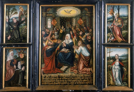 Stock Photo: 1746-1084 Flemish School, 16th century. Triptych. Central panel shows Holy Spirit at Pentecost. Left panel: Francis of Assisi receiving stigmata and St Elisabeth. Right panel: St Catherine of Alexandria with Emperor Maximus and St Margaret. Private Collection