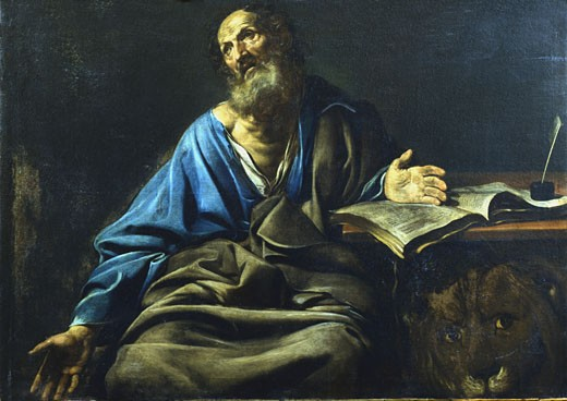 Stock Photo: 1746-1085 St. Mark the Evangelist Valentin de Boulogne (1591-1632 French) Oil on canvas Private collection