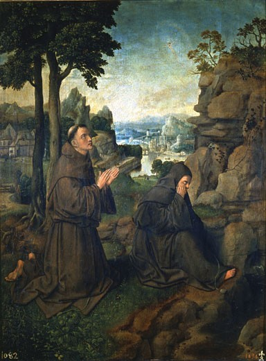 Stock Photo: 1746-1086 St. Francis of Assisi and another Franciscan monk in the desert Joachim Patinir (c.1490-c.1524 Netherlandish) Prado, Madrid