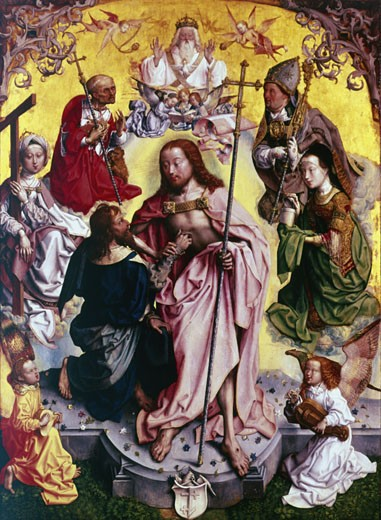 Master of the altarpiece of St Bartholemew c.1499. St Thomas, DoubtingThomas, placing his hand into Christ's wound. On left, St Jerome, on right St Ambrose and St Mary Magdalene. God the Father, with Dove of Holy Spirit, looks down. Angel bottom right plays a Hurdy-Gurdy. Wallraf-Richartz Museum, Cologne  : Stock Photo