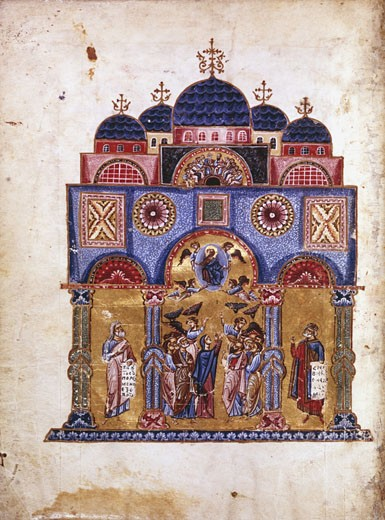 Stock Photo: 1746-1101 Byzantine art. The Monk James (James of Kokkinobaphos) Homilies on the Virgin (12th century). Ascension (centre), David (right, wearing crown) and Isiah (left). Paris, Bibliotheque Ntionale.