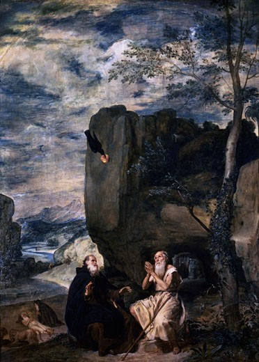 Stock Photo: 1746-1108 St. Anthony and St. Paul in the Desert Being Fed by a Raven 1645 Diego Velazquez (1599-1660 Spanish) Prado, Madrid