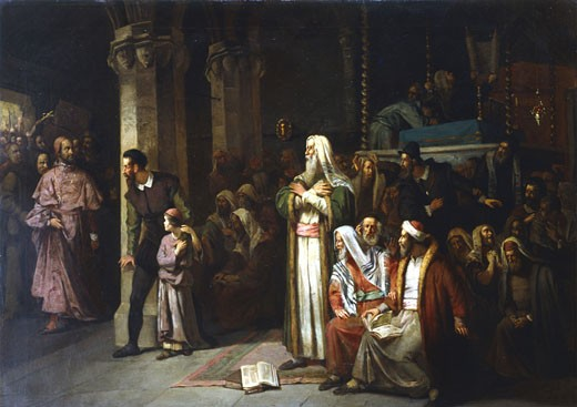 Stock Photo: 1746-1128 Service in the Synagogue during the reading from the Torah, interrupted by the entrance of an angry crowd led by a priest. Austrian school, 1868. Oil on canvas. Private collection