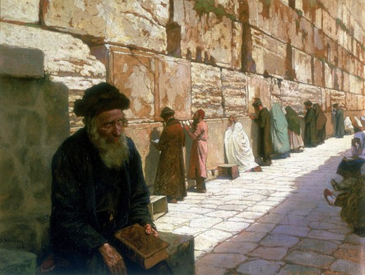 The Wailing Wall, Jerusalem. Wassilif Ivanowitsch Navosoff (1798-1865) Oil on canvas Private collection : Stock Photo