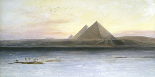 The Pyramids at Gizeh Edward Lear (1812-1888 British) Oil on canvas Private Collection : Stock Photo