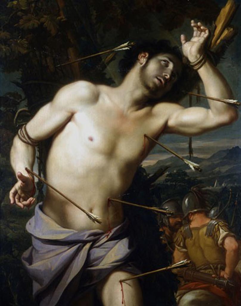 Stock Photo: 1746-1145 St Sebastian School of Giovanni Domenico Cerrini, called Cavaliere Perugino (1609-81) Oil on wood