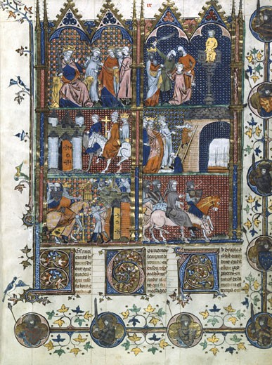 Stock Photo: 1746-1156 1st Crusade 1096-1099. Capture of Jerusalem by the Turks, torture and massacre of the Christians.  14th century manuscript